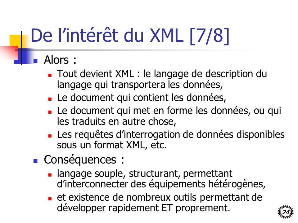 De l'intérêt du XML [7/8] Alors : Conséquences :